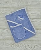 м.407В Пеленка уголок д/купания+рукавичка (с вышивкой)